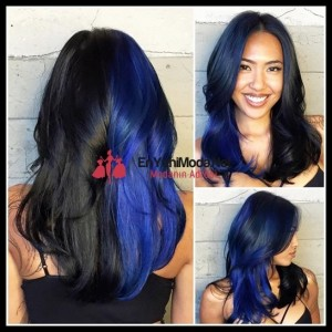 siyah mavi saç modelleri