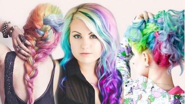 Yeni trend gökkuşağı ve opal renk saç boyası
