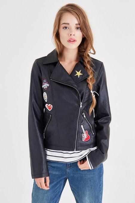 siyah deri ceket modası 2017